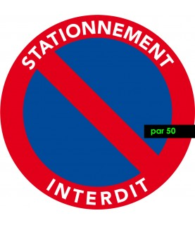 autocollants interdiction de stationner vendus par 50