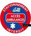 Interdiction de stationner sur les accès ambulances. Autocollants vendus par 50