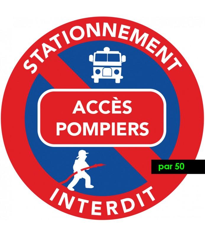 Interdiction de stationner sur les accès pompiers. Autocollants vendus par lot de 50